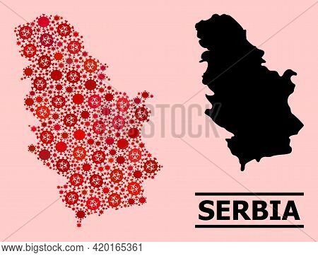 Vector Covid-2019 Mosaic Map Of Serbia Combined For Doctor Advertisement. Red Mosaic Map Of Serbia I