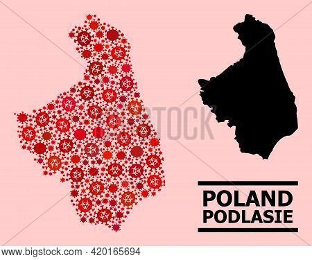 Vector Covid-2019 Mosaic Map Of Podlasie Province Designed For Pharmacy Projects. Red Mosaic Map Of