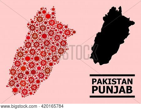Vector Covid-2019 Composition Map Of Punjab Province Done For Health Care Illustrations. Red Mosaic