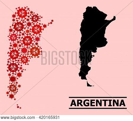 Vector Covid-2019 Mosaic Map Of Argentina Constructed For Pandemic Wallpapers. Red Mosaic Map Of Arg