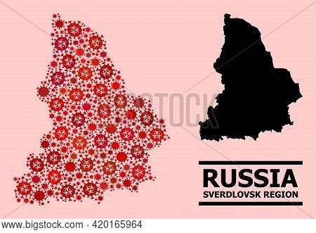 Vector Covid Mosaic Map Of Sverdlovsk Region Combined For Clinic Posters. Red Mosaic Map Of Sverdlov