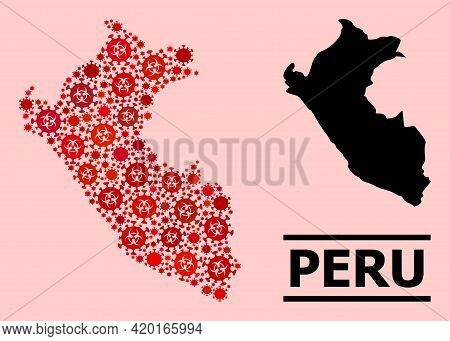 Vector Covid Mosaic Map Of Peru Organized For Pharmacy Applications. Red Mosaic Map Of Peru Is Const