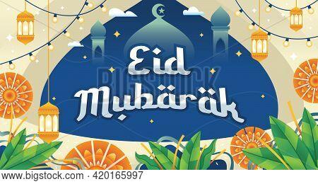 Eid Mubarak Greeting Card Illustration. Vector Illustration Of Fasting Month Ramadan. Eid Mubarak Is