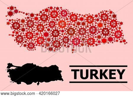Vector Covid-2019 Mosaic Map Of Turkey Combined For Clinic Illustrations. Red Mosaic Map Of Turkey I
