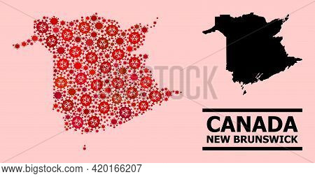 Vector Covid-2019 Mosaic Map Of New Brunswick Province Combined For Hospital Illustrations. Red Mosa