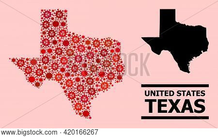Vector Covid Mosaic Map Of Texas State Done For Clinic Illustrations. Red Mosaic Map Of Texas State