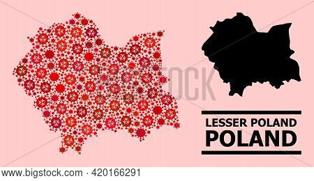 Vector Covid-2019 Mosaic Map Of Lesser Poland Province Organized For Pandemic Illustrations. Red Mos
