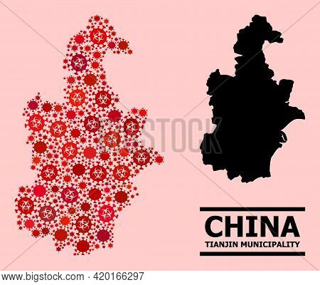 Vector Covid-2019 Composition Map Of Tianjin Municipality Organized For Lockdown Advertisement. Red