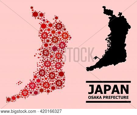 Vector Covid-2019 Collage Map Of Osaka Prefecture Designed For Medicare Applications. Red Mosaic Map