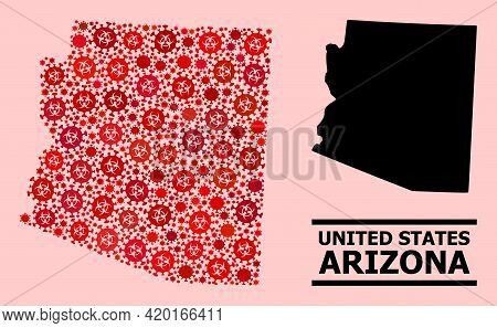 Vector Covid-2019 Mosaic Map Of Arizona State Created For Hospital Wallpapers. Red Mosaic Map Of Ari