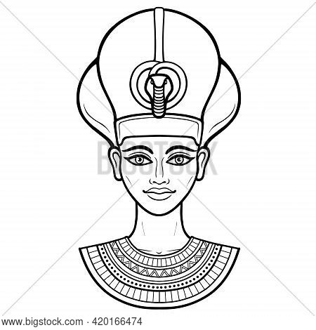 Animation Portrait Of Beautiful Egyptian Woman In The Military Crown. Goddess, Princess, Queen. Vect