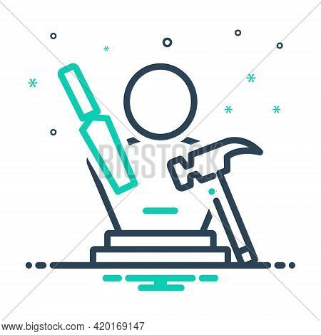 Mix Icon For Sculpting Art Handcraft Hammer Hobby Creative