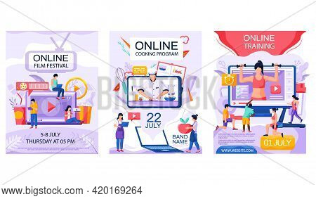 Set Of Illustrations About Online Self-development And Entertainment Programs Vector Illustration. W