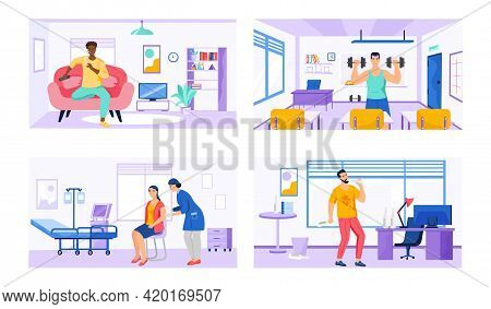 Set Of Illustrations About Lifestyle Of People In Different Places. Sport, Exercises, Proper And Poo