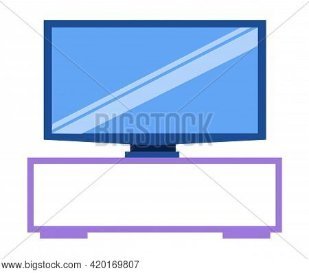 Tv Stand With Electronic Device For Watching Television. Plasma Large Screen Isolated On White Backg