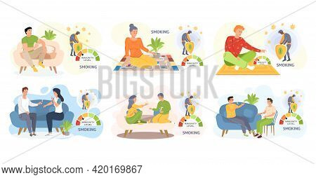 Set Of Illustrations About Smoking. Tobacco Dependence Concept. Unhealthy Lifestyle And Bad Habits.