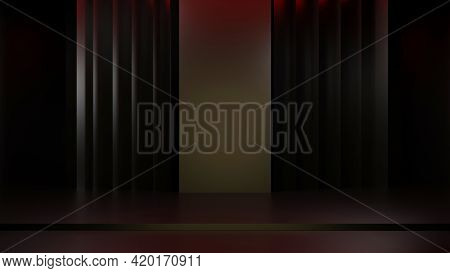 3d Rendering Dark Background Blank Studio For Merchandise Display With Banner Background Copy Space