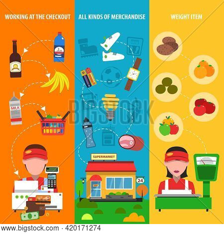 Supermarket Vertical Banner Set With Discount And Merchandise Elements Isolated Vector Illustration