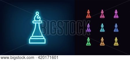 Neon Chessmen Bishop Icon. Glowing Neon Bishop Sign, Outline Chess Piece And Silhouette In Vivid Col