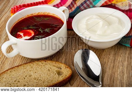 Checkered Napkin, Borscht With Sour Cream And Dill In White Bowl, Bowl With Sour Cream, Slice Of Bre