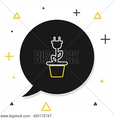 Line Electric Saving Plug In Pot Icon Isolated On White Background. Save Energy Electricity Icon. En