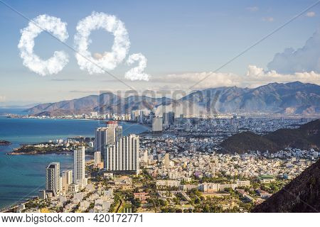 Panoramic Daytime View City Co2 Lettering Made Of Clouds. Sky With Co2 Pollution, Smog