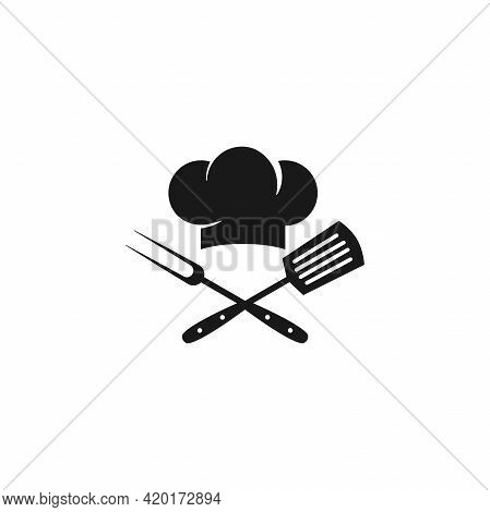 Chef Cook Cap With Spatula And Fork Icon Isolated On White. Cooking Cap. Menu Card. Party, Cuisine,