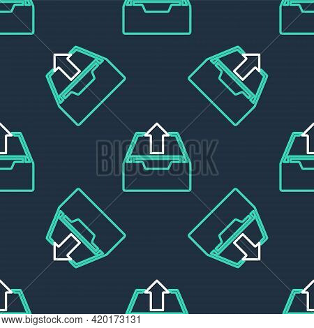 Line Upload Inbox Icon Isolated Seamless Pattern On Black Background. Extract Files From Archive. Ve