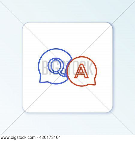 Line Speech Bubbles With Question And Answer Icon Isolated On White Background. Q And A Symbol. Faq