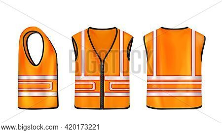 Safety Vest Front, Side And Back View, Orange Sleeveless Jacket With Reflective Stripes For Road Wor