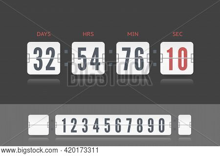 Vector Coming Soon Web Page Template With Flip Time Counter. Vector Illustration Template. White Sco