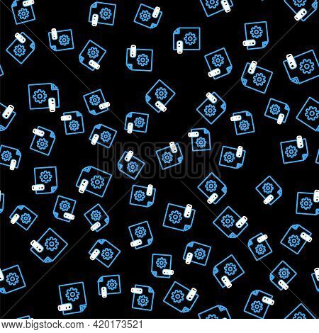 Line Dll File Document. Download Dll Button Icon Isolated Seamless Pattern On Black Background. Dll