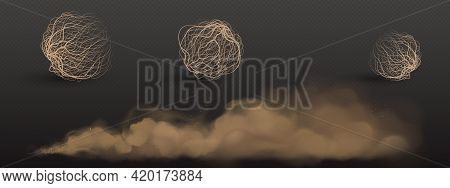 Brown Dust Clouds And Tumbleweed, Dry Weed Balls Isolated On Transparent Background. Vector Realisti