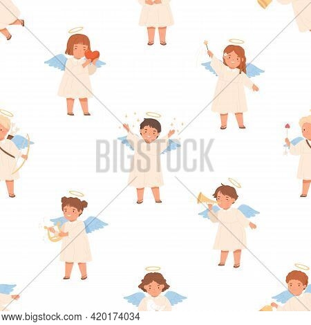 Seamless Pattern With Cute Angels On White Background. Happy Children With Nimbus And Wings On Endle