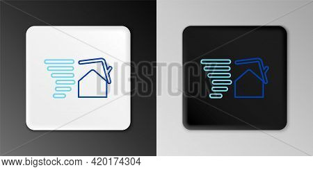Line Tornado Swirl Damages House Roof Icon Isolated On Grey Background. Cyclone, Whirlwind, Storm Fu