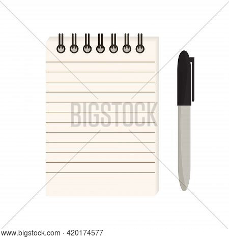 Flat Vector Illustration Of Spiral Notepad With Lines With Space For Text And Permanent Marker. Note