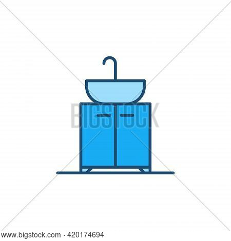 Sink On Vanity Unit Vector Blue Concept Icon
