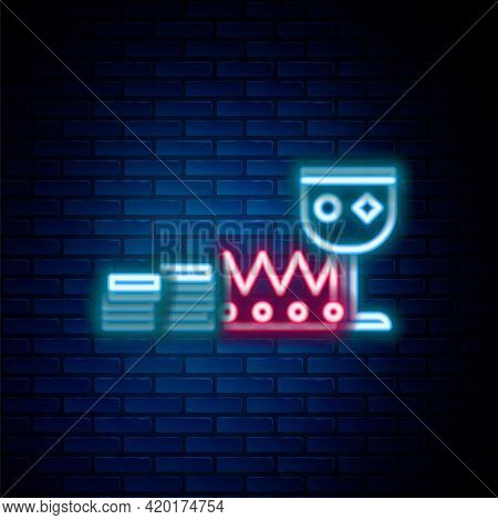 Glowing Neon Line Treasure And Riches Icon Isolated On Brick Wall Background. Treasure, Gold, Coins,