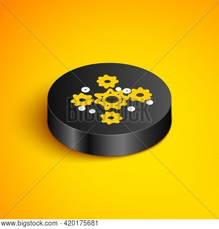 Isometric Line Bacteria Icon Isolated On Yellow Background. Bacteria And Germs, Microorganism Diseas