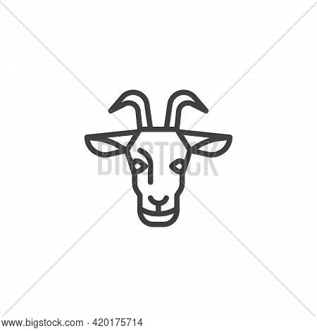Goat Head Line Icon. Linear Style Sign For Mobile Concept And Web Design. Goat With Horns Outline Ve