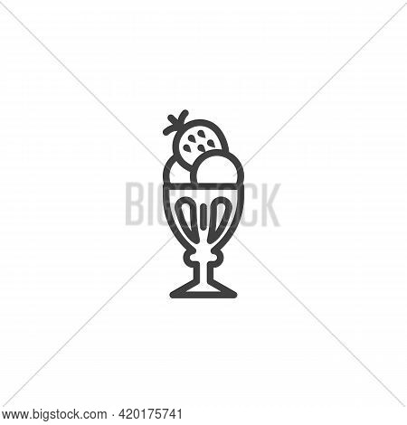 Strawberry Ice Cream Cup Line Icon. Linear Style Sign For Mobile Concept And Web Design. Sundae Ice