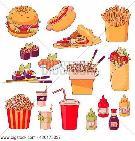 Fastfood Menu Dishes Design Element Set. Hamburger, Hot Dog, Pizza, French Fries, Sushi, Thai Noodle