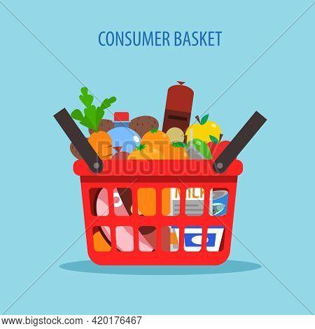Red Plastic Shopping Basket Full Of Foodstuff Concept Flat Vector Illustration