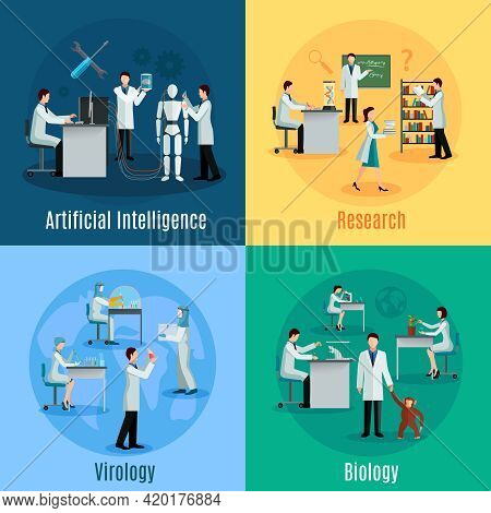Scientists 2x2 Design Concept Set With Researchers In Field Of Biology Virology And Artificial Intel
