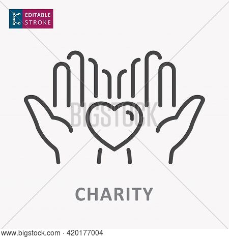 Charity Line Icon. Symbol Of Solidarity, Help, Care. Editable Stroke.