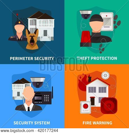 Home Security 2x2 Flat Design Concept Set Of Theft Protection Fire Warning And Electronic Alarm Syst