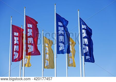 Umea, Norrland Sweden - March 25, 2021: Flags Of Well-known Brand Selling Furniture