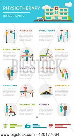Physiotherapy  Infographics Layout With Diagnostics Methods Acupuncture  Chiropractic Massage Treatm