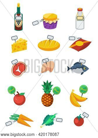 Supermarket Flat Color Decorative Icons Set Of Food Products And Price Tags With Vegetables Fruits M