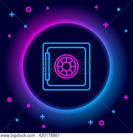 Glowing Neon Line Safe Icon Isolated On Black Background. The Door Safe A Bank Vault With A Combinat